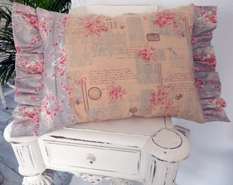 Nostalgic Shabby Chic Romantic letters muted colors Pillow