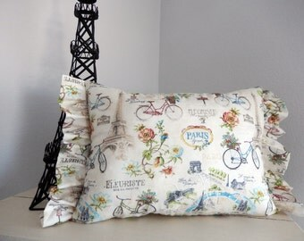 Paris Forever on Bicyle Pillow Eiffeltower flowers and flower shops Brocante