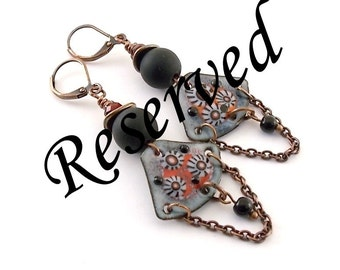 RESERVED...Black and Red Flower Enameled Earrings - Brass Earrings - Flower Earrings - Artisan Earrings - Boho Earrings - Red Gray - AE087