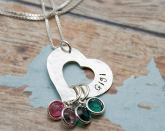 Heart Necklace for Mother or Grandmother with Birthstones Personalized Hand Stamped Jewelry