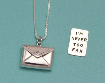 Envelope Letter Necklace Personalized Necklace Hand Stamped Jewelry