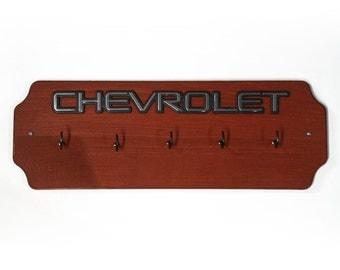 Chevrolet Wall Key Holder - Chevy Emblem Red Wood Key Organizer - Father's Day Gift