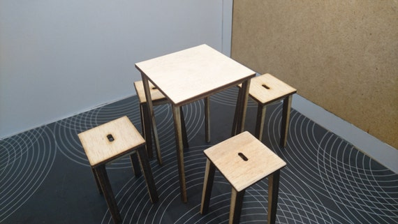 Modern original furniture,  natural wood terrace and bar tall table with 4 stools, 1/12 miniature for dollhouses