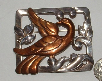 drop dead STUNNER- 1940s copper bird pin- unsigned designer item  may be sterling too  hefty weight