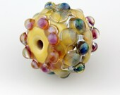Large Handmade Hollow Lampwork Glass Bead Blown Focal Iridescent Pink,  Blue, Gold, Yellow
