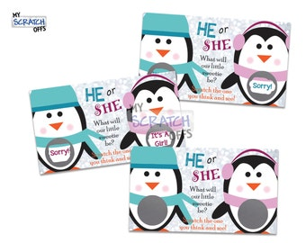 Gender Reveal Scratch Off Game Card Little Penguin Reveal the Sex Scratch-Off (25 card)