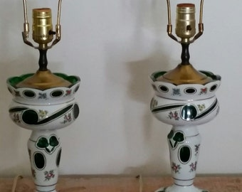 Lovely Pair of Hand Painted Bohemian Lamps