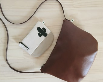 Small Brown Leather Crossbody, Cognac Vegan Leather