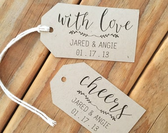 Rustic Kraft Wedding Favor Tags Cheers With Love Floral
