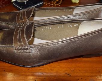 Salvatore Ferragamo bronze loafers