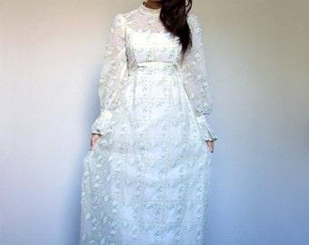 70s White Dress Long Sheer Sleeve Felt Floral Print Vintage Bohemian Long Maxi Dress - Extra Small XXS XS