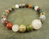 Multi-Gemstone and Memory Wire Cuff Bracelet Rose Quartz Unakite Jasper Agate