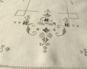 Charming vintage hand embroidery Madeira style table placemat linen with grey cotton thread ecru color  1960s  unused Classic pattern