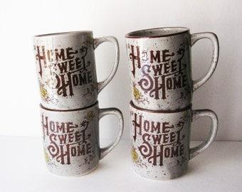 Vintage Home Sweet Home Mugs, Set of 4