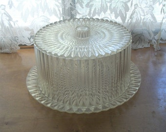 1950s Vintage Sparkly Lucite Crystal Like Cake Stand and Lid Very Special Holiday Wedding Love This! So Retro