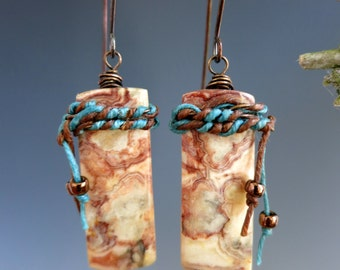 Southwest Wirewrapped Earrings, Rust & Turquoise, Copper and Agate, One of a Kind Handcrafted Earrings, READY TO SHIP