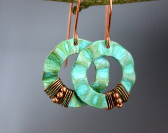 Verdigris Copper Hoop Earrings, Wire Wrapped Copper, READY TO SHIP
