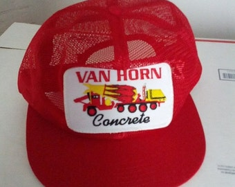 SALE Van Horn Concrete mesh cap hat baseball trucker embroidered patch uniform