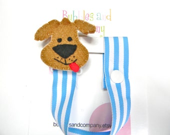 Pacifier clip, Puppy, Dog, Boy Pacifier Clip, Pacifier Holder, Binky Clip, Baby Gift, Paci Clip, Binky Holder, Baby Shower Gift