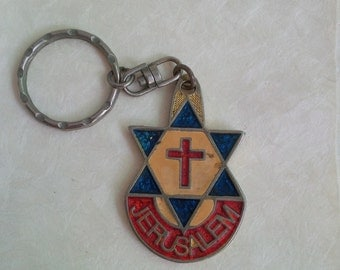 Vintage keychain - Israel Jerusalem rustic metal keychain - David shield and cross, red blue - collectable