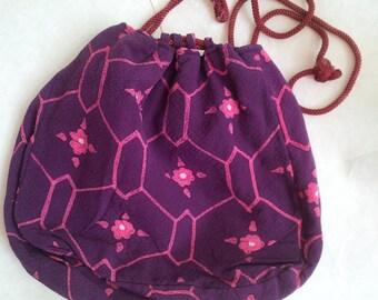 Vintage Japanese Bag Purple - Japan Traditional kimono drawstring bag chirimen fabric geometrical and flower pattern - original Japan