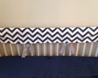 Navy Blue chevron gray dot Baby bedding nursery boy crib rail guard  set