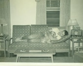 Man and Dog Napping on the Couch Mid Century Mod Home 1950s 60s Radio Sofa Living Room Vintage Black and White Photo Photograph