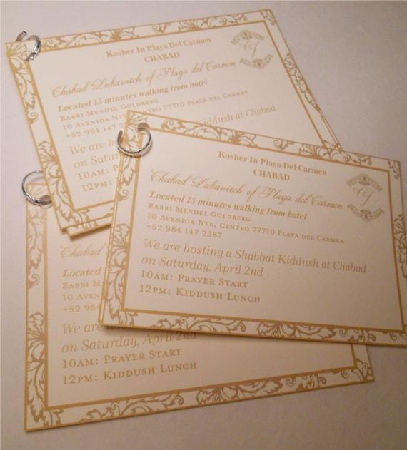 Wedding Gift Bag Itinerary : Chabad Cards - Wedding Itinerary Cards - Gold Cards - Wedding Gift Bag ...