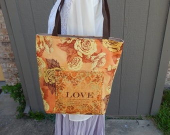 Handmade Tote, Bible Bag, Love 1 John 4:10 Tote Fabric Bag, ,Christian Tote, Bright golds,blues, greens Tote, Stained Glass Look, Jesus Bag