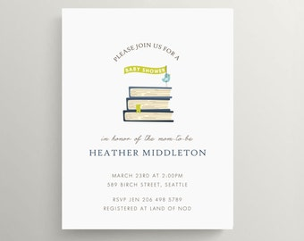 book baby shower invitation set  //  birthday invitation // book party  //  library  //  bring a book // book theme