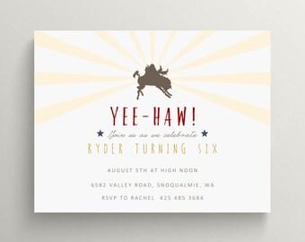 cowboy birthday invitation set // baby shower invitation // western // cowboy party // western party // thank you note // western // mustang