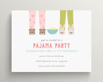 pajama party birthday invitation set // sleep over // slippers // pancakes and pajamas // thank you note // overnight // pjs // popcorn