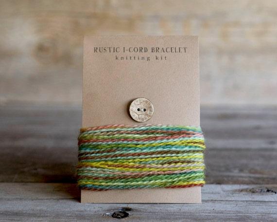 Knitting Kit - DIY - Craft Kit - Rustic I Cord Bracelet - Knitting Pattern - Wood Button - Wool Yarn - Hand Dyed Yarn - Mini Skein - DIY kit