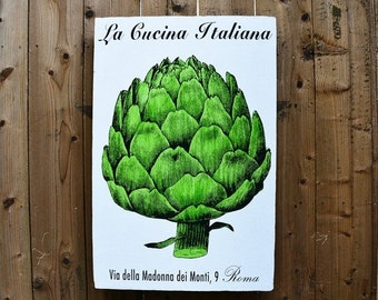 FALL SALE LA Cucina Artichoke - 24x36 - salvaged wood - Home Decor - RuPiper Designs Original Design