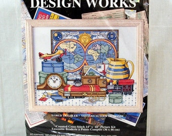 Counted Cross Stitch Kit Design Works, World Traveler, Sealed 14 by 18
