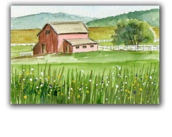 Morning Red Horse Barn Artwork  Acrylic LLMartin Original Watercolor Painting Virginia Country  Free Shipping USA