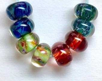 Ooak boro lampwork beads set of 8 beads earring pairs ready to ship boro bead pairs ruby purple haze, peridot,lapis & teal sparkle paulbead