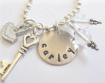 Custom Hand Stamped  White Wedding Flower Girl Charm Necklace- #W824