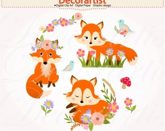 ON SALE Red Fox clipart, Red foxes with flowers clipart, Autumn Foxes clipart, baby fox digital clipart, instant download