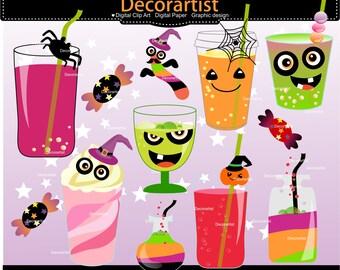 ON SALE halloween clipart, halloween drink clipart, halloween drink for kids clipart, card  invitations, scrapbooking