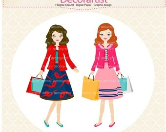 ON SALE Digital clipart, woman clipart, girl clipart, girls clipart, invites, shopping, charactor clip art ,INSTANT Download