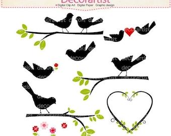 ON SALE Bird Clip Art,Black Bird on the Branch, Birds Clip art, instant download, Digital clipart birds, Birds on the branch