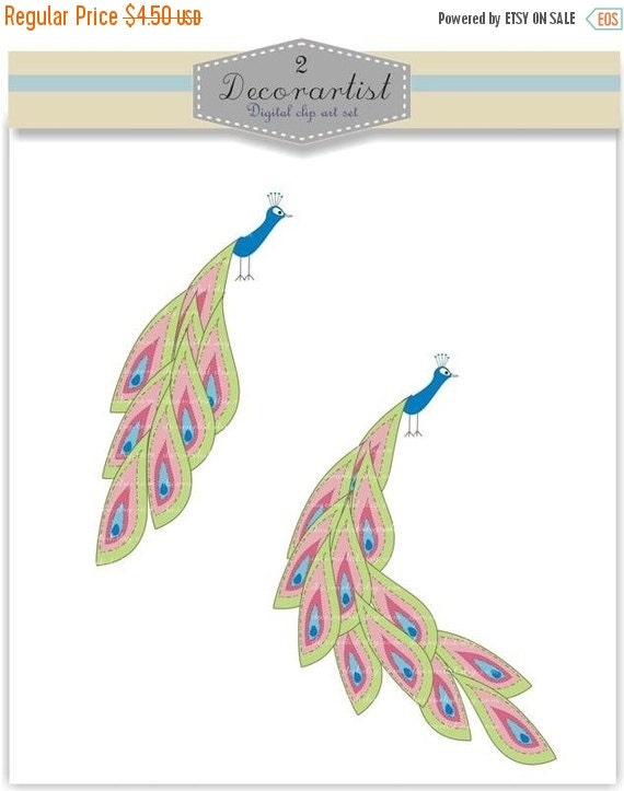 ON SALE Digital clipart, peacock, card making, scrapbooking, Instant download