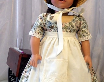 18 Inch Doll Clothes / Doll Dress / Straw Hat / Apron / Petticoat / Pantaloons / Doll Clothing / Doll Outfit / Fits American Girl Doll -1020
