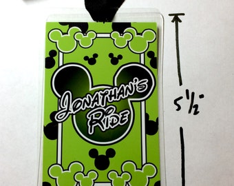 """Disney Stroller Tag - Personalized MICKEY MOUSE Stroller Tags  Laminated 5mil  - 5.5"""" x 3.5"""" in size with Matching Ribbon"""