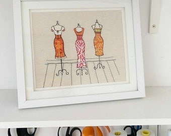 Dress Shop Freehand Machine Embroidery Framed picture