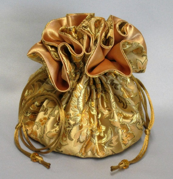 Jewelry Travel Tote---Elegant Gold Floral Design---Satin Brocade Drawstring Organizer---Large Size
