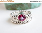 Clearance Pink Topaz Wedding Ring Set, Sterling Silver, Beaded Band Design, Faceted Gemstone, Engagement Jewelry