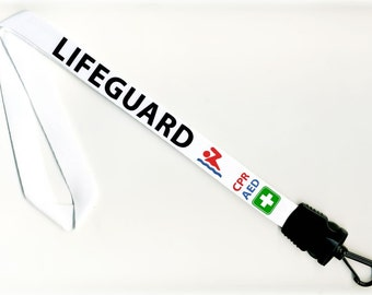 AED CPR LIFEGUARD Swimming Pool Safety Warning Alert 34 inch Whistle Lanyard