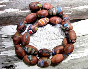10 African trade beads glass venetian beads rustic brown ethnic beads millefiori mosaic beads 15mm x 10mm phmf-1-B3